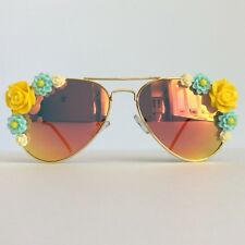 Chloe - PinksAndMinks Amber Reflective Embellished Sunglasses Yellow Blue Flower