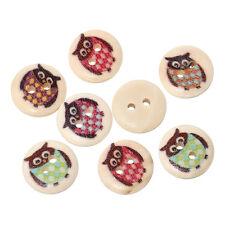 100 piezas mixtas 2 Agujero De Madera Redonda Con Dibujo De Búho Animal Coser Tarjeta Craft Botones 15mm
