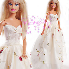 ON Sale New White for Barbie Doll Outfit original clothes Princess GOWN DRESS