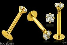 14k Carat Gold 3mm Square Claw Set Gem Cartilage Tragus Labret Barbell 16g 8mm