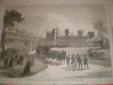 late Lord Derby funeral procession leaving Knowsley House 1869 old print