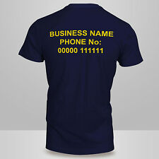 New Mens or Ladies Personalised Custom BACK Printed Work Wear Cotton T-SHIRT Top