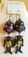 """Vintage Estate 3"""" African Blackamoor Articulated Google Eye Earrings NOS Yellow"""