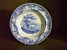 """Pearlware blue & white transfer printed Soup  plate Ridgway """"Rural Scenery"""""""
