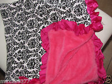 NEW Hot pink soft knit Baby Nursery Receiving Blanket Satin Ruffle damask Girl ❤