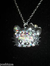 Aurora Rainbow Rhinestone Crystal Hello Kitty Cat Pendant Chain Necklace Unique