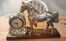 Oxford Self Starting  Horse Clock United clock Co. Electric. Metal Base