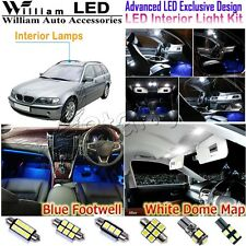 14 Bulbs White LED Interior Light Kit +Blue Footlight For BMW 3 Series E46 Wagon