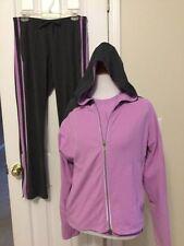 NIKE Women's Jogging Suit Jacket Shirt Pants Gray Lavender Size M 3 Piece Set
