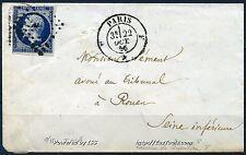 FRANCE EMPIRE N° 14Ab BLEU NOIR CACHET B DE PARIS SUR LETTRE 22/10/1856