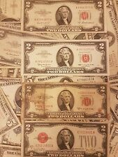 US dollars 2$ circulated USD two dollar bill USA RED SEAL 1953 1928 1963 Vintage