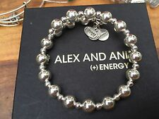 NEW RARE ALEX and ANI SHINY SILVER CRETE Beaded WRAP BRACELET