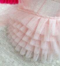 "Lace Trim Fabric Light Pink Ruffled Tulle Wedding Fabric 6.69"" width 1 yard"