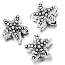 50pcs Retro Silver Alloy Starfish Charms Spacer Beads Loose Jewelry Findings BS