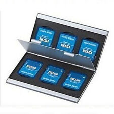 Aluminum 6 Slots Memory Card Holder Case Storage Box Protector For SD/SDHC/MMC