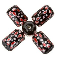 Hand Painted Black Tubular Glass Beads With Red Detail 9x14mm Pack of 5 (A66/1)