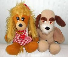 SET 2 ANIMAL FAIR Puppy Dogs CLARA & HENRY Plush Stuffed Animal VINTAGE 1974