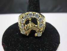 SIZE 9, 14 KT GOLD PLATED MENS LUCKY HORSESHOE CLEAR CZ RING