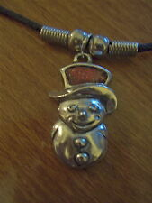 """Pewter Snowman Enameled Necklace on Black Thong-16""""-NEW - Christmas"""