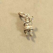 .925 Sterling Silver 3-D Tiny SANTA CLAUS CHARM NEW 925 Holiday Christmas HL18