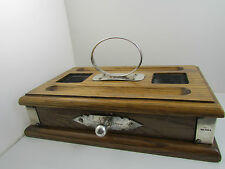 Sheaffer Desk Set Solid Oak with Sterling Silver Inkwell & Pen Stand FHM 1989