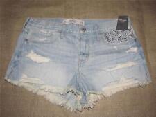 Womens New ABERCROMBIE & FITCH Shine Embellished Denim Frayed Short Shorts 10