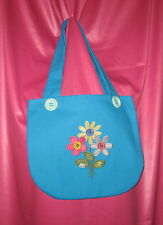 Handmade machine embroidered design - Flowers Blue demin - purse/bag/tote Small