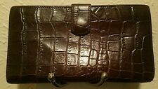 Vintage Carlos Falchi Brown Embossed Leather Wallet Bi-Trifold Kiss Coin Pocket