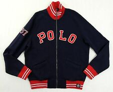 $195 Men Ralph Lauren Polo Logo Fleece Track Sweatshirt Varsity Tennis Jacket L