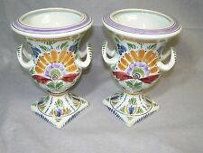 2 Vintage Delft Holland D.P. Multi-Colored Floral Design Pedestal Urn Vases
