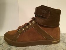 Michael Kors Greenwich High Top Fashion Sneakers Haircalf Brown 5.5 M New $195