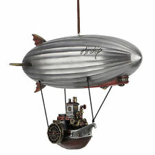 "11"" Steampunk Airship With Steamship Gondola Home Decor Statue Fantasy Figure"