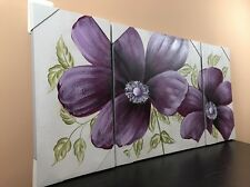 Wall Art Painting Canvas FRAMED Wall Decor 3 Pcs Set Purple Flower (24X48)
