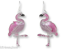 Zarah Zarlite Caribbean FLAMINGO EARRINGS Enamel Silver Plated Bird - Gift Boxed
