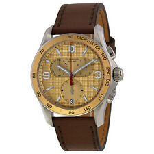 Victorinox Chrono Classic Champagne Dial Brown Leather Strap Mens Watch 241659