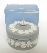 Wedgwood Grey Jasperware Trinket Box and Lid Boxed - Grey Jasperware