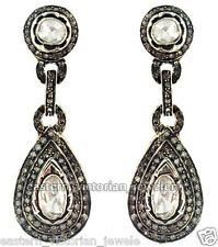Vintage Victorian 3.78cts Rose Antique Cut Diamond .925 Silver Jewelry Earring