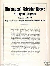 Cervecería becker St. Ingbert publicitarias & historial 1926 cervezas saargebiet grande 'ción