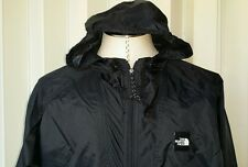 New The North Face Hooded Rain Zipper Jacket Coat Windbreaker Black Men L Large