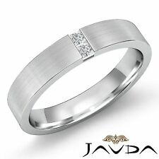 6mm Mens Half Wedding Band 2 Stone Princess Diamond Solid Ring Platinum 0.25Ct