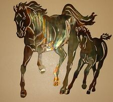 Mom & Me Running Horse Pair Metal Wall Art Decor by HGMW