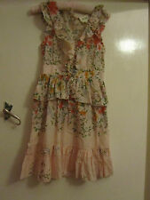 Peach Pink & Orange Floral Cotton V Neck Oasis Dress in Size 6