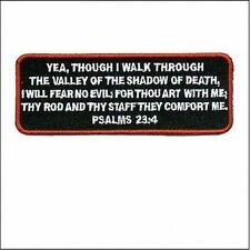 Psalms 23-4 Red Embroidered Bible Jesus Verse MC Christian Biker Patch PAT-1465