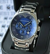 Emporio Armani Mens Chronograph Watch AR5860 Stainless Steel Blue Face New 99p