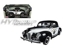MOTORMAX 1:18 1940 FORD DELUXE HARD TOP CHP DIE-CAST B&W 73108