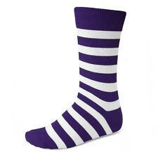 Men's Dark Purple and White Striped Socks, Stand Out From The Crowd