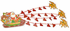 Santa In Sleigh With Reindeers Christmas Card Holder - Holds 48 Cards (PM27)