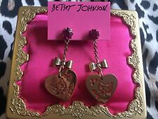 Betsey Johnson Vintage Orange Lucite Gold Heart Cat Bow Crystal XOXO Earrings