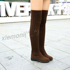 Womens Warm Flats Winter Over Knee Boots Knit Wedge Pull On Casual Ridding Shoes