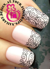 NAIL ART WRAP WATER TRANSFERS STICKERS DECALS SET BLACK SWIRL LACE STRIPS #121